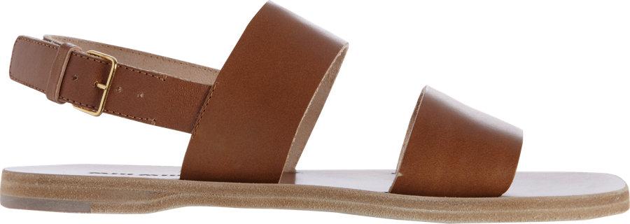 0d8cf712cfc8 Lyst - Miu Miu Two Strap Sandal in Brown