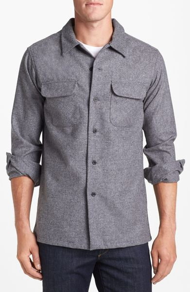 Pendleton board fitted wool flannel shirt in gray for men for Mens wool flannel shirt