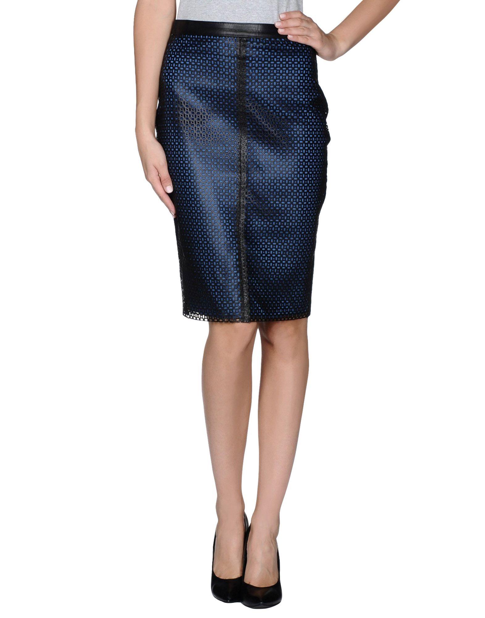 balmain leather skirt in blue black lyst