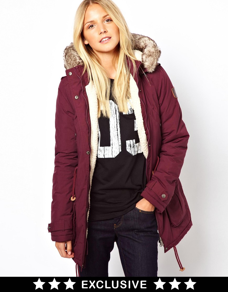 Maroon Parka Jacket Womens