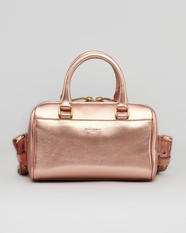 Saint Laurent Metallic Duffel Toy Bag Rose Gold In Pink