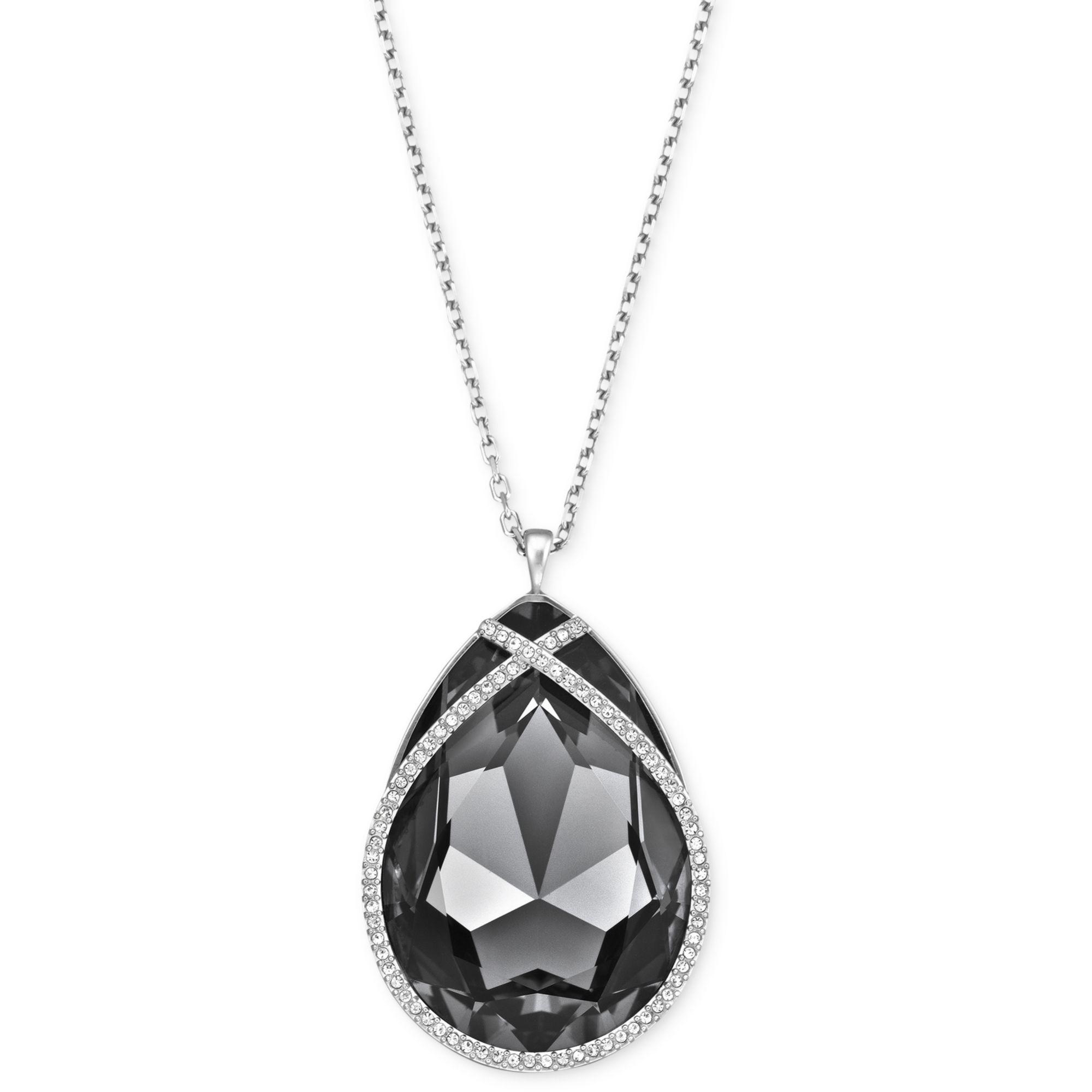 Swarovski Rhodiumplated Black Crystal Teardrop Pendant