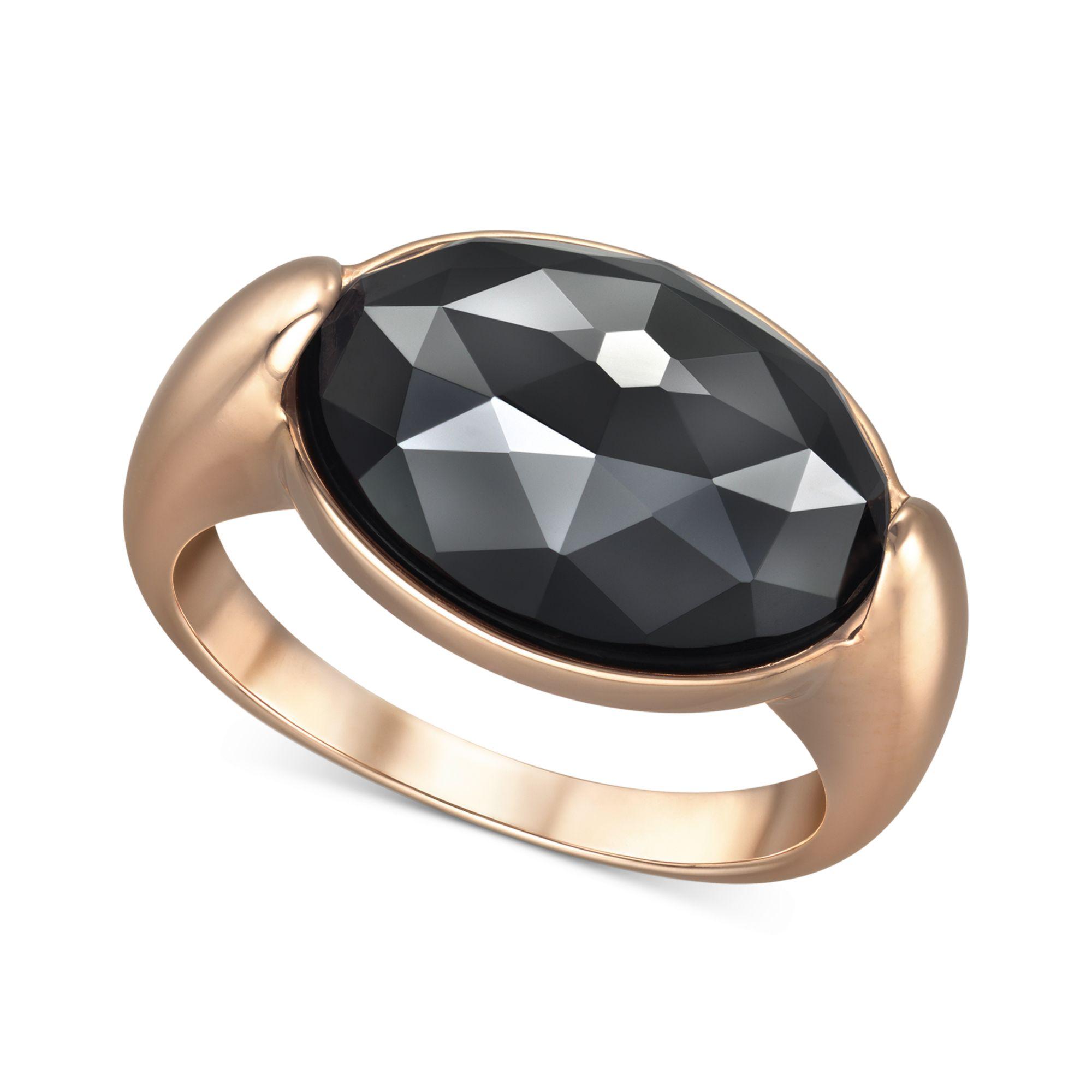 swarovski rosegold tone jet hematite oval crystal ring in. Black Bedroom Furniture Sets. Home Design Ideas