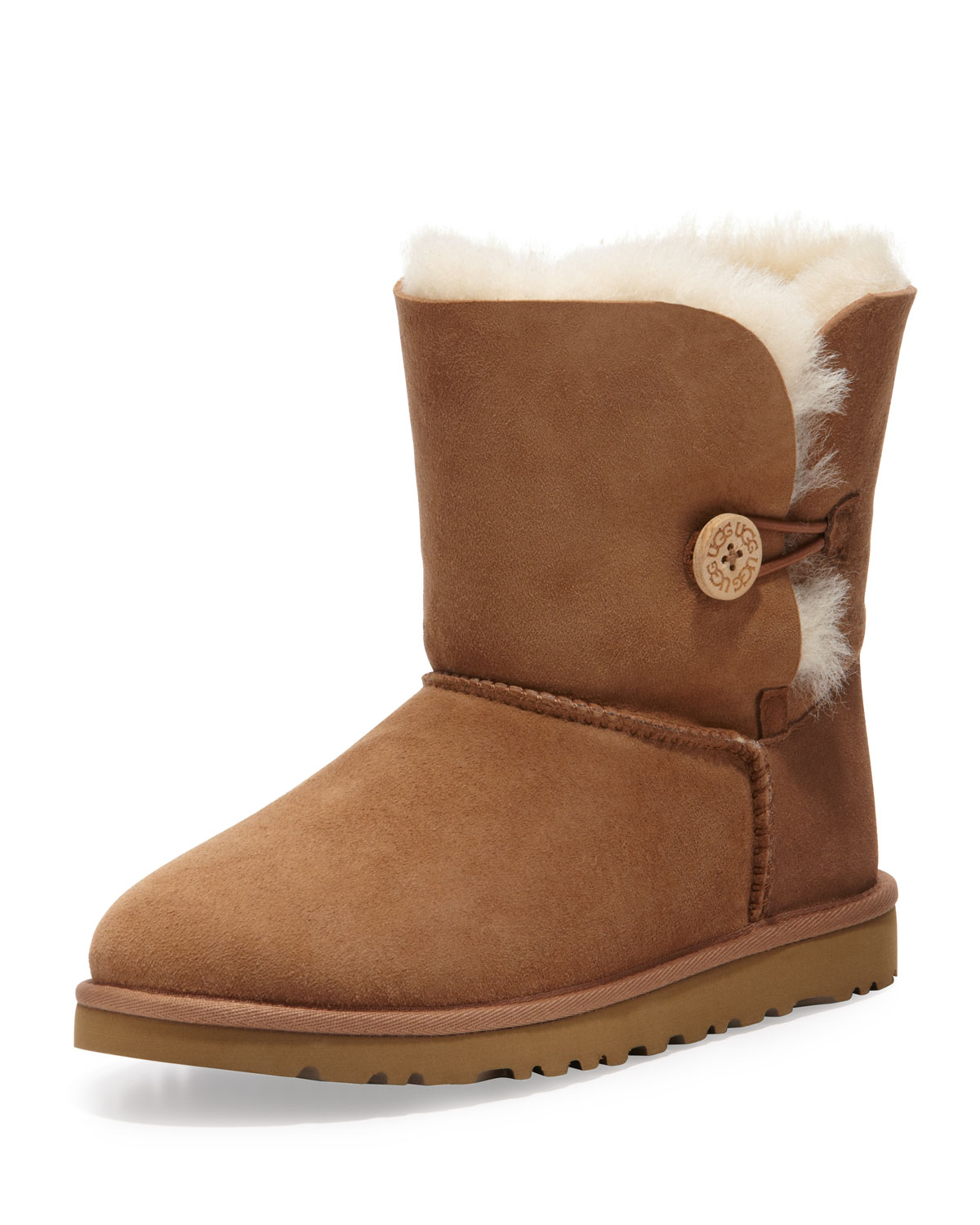 lyst ugg bailey button short boot chestnut youth sizes. Black Bedroom Furniture Sets. Home Design Ideas