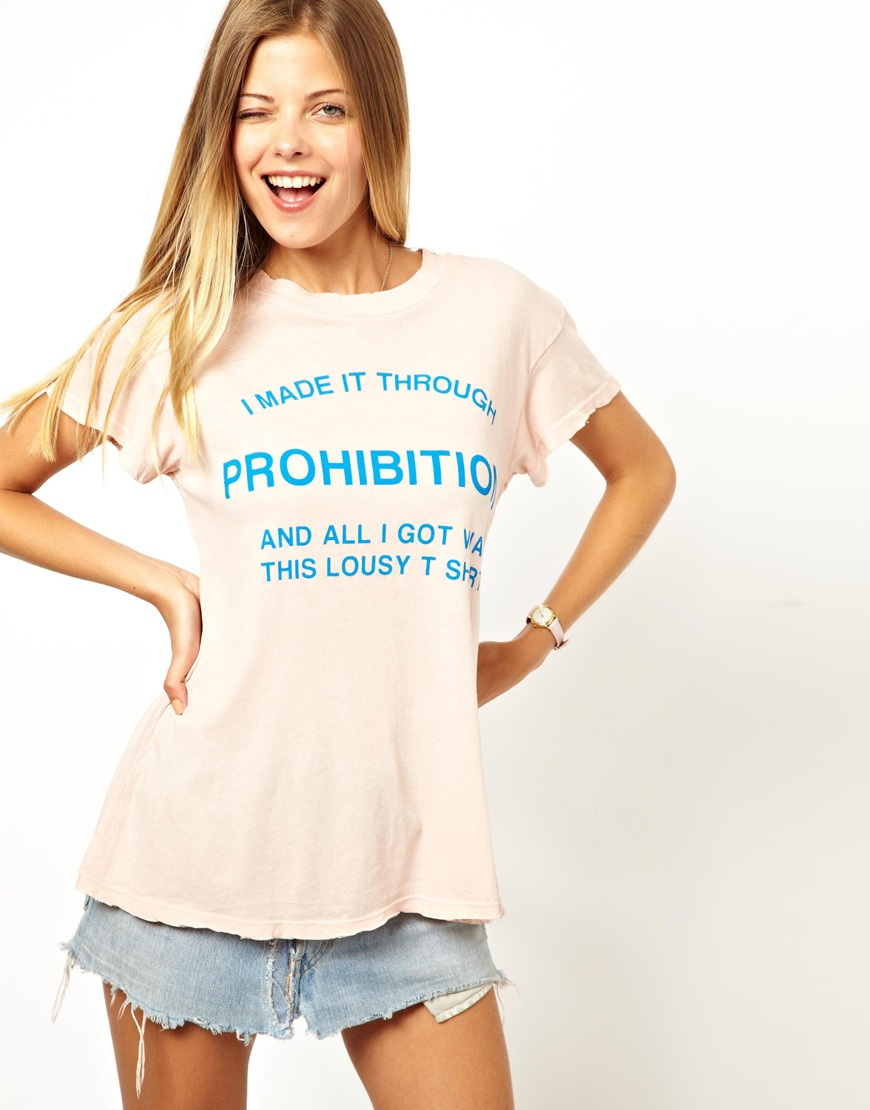 35715096ab2 Lyst - Wildfox Prohibition Tshirt in White