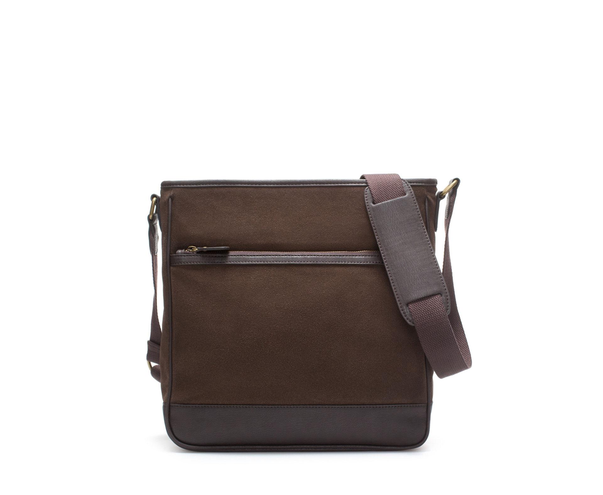 Zara Messenger Bag With Zip In Brown For Men Lyst