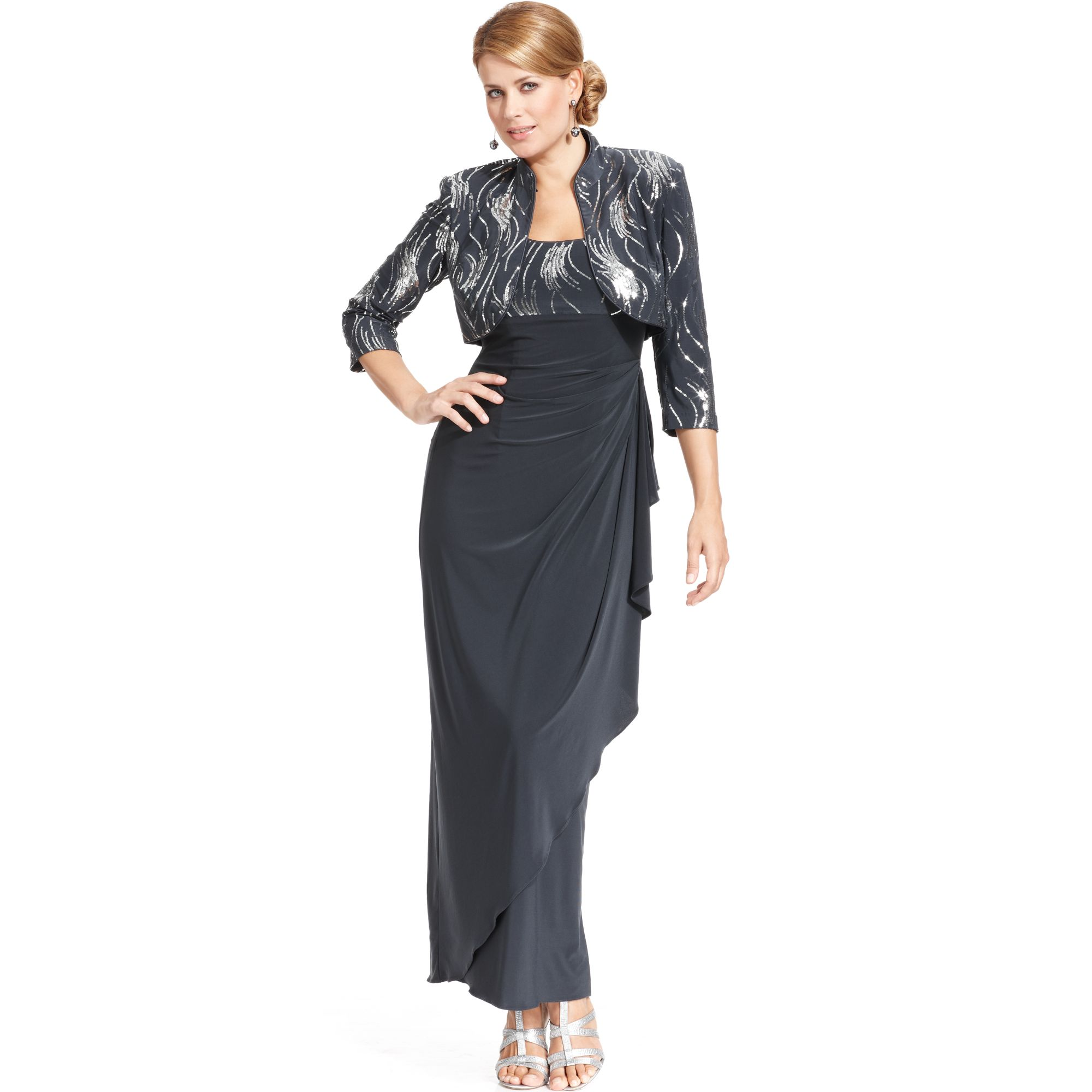 alex evenings charcoal sleeveless sequined ruffled evening gown product 1 14225929 656405004