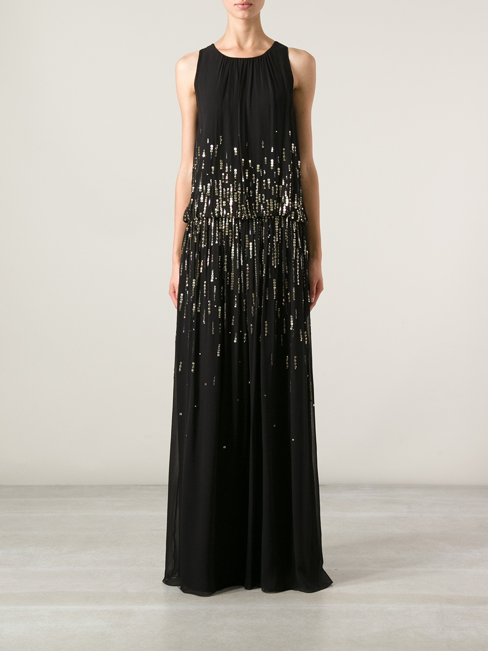 Alice by temperley Sequin Embellished Maxi Dress in Black | Lyst