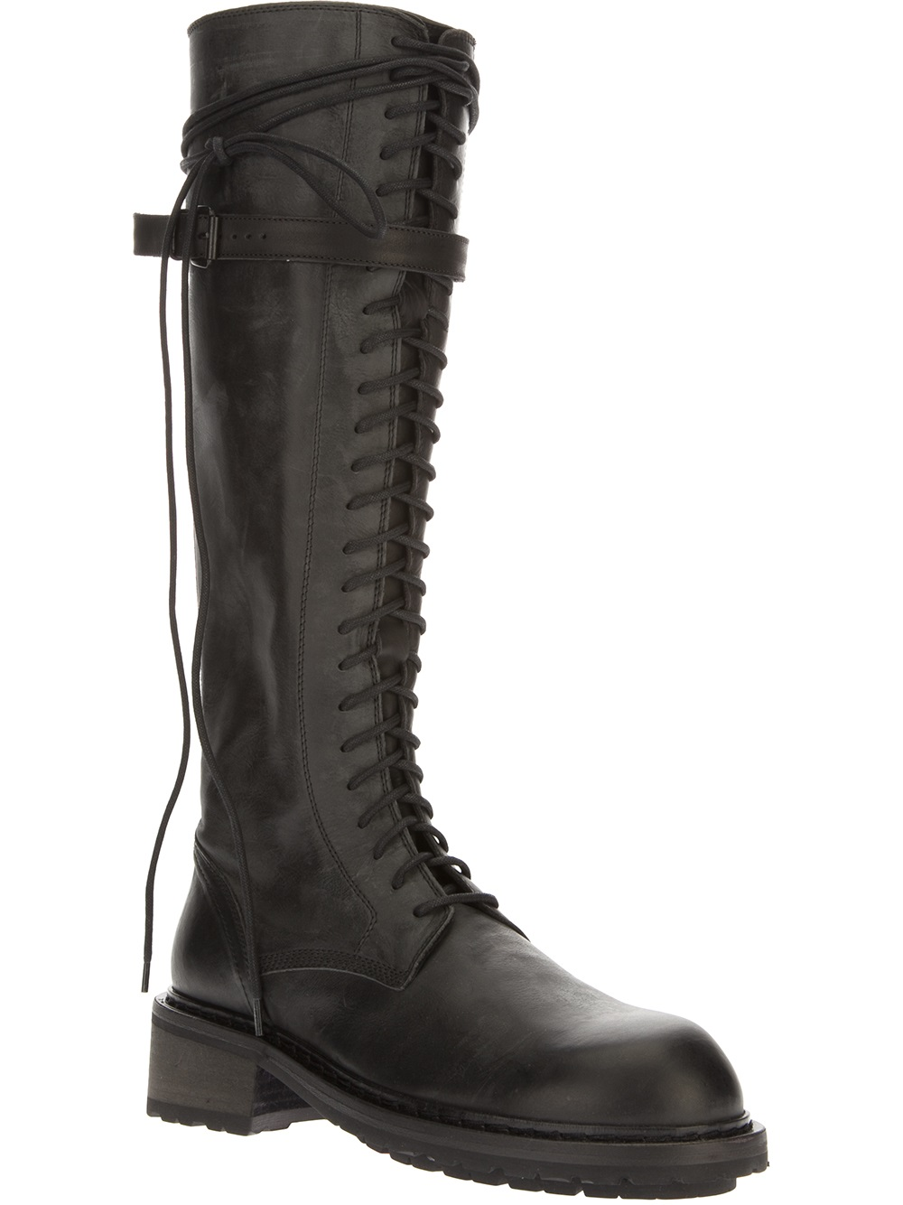 demeulemeester knee high combat boot in black lyst