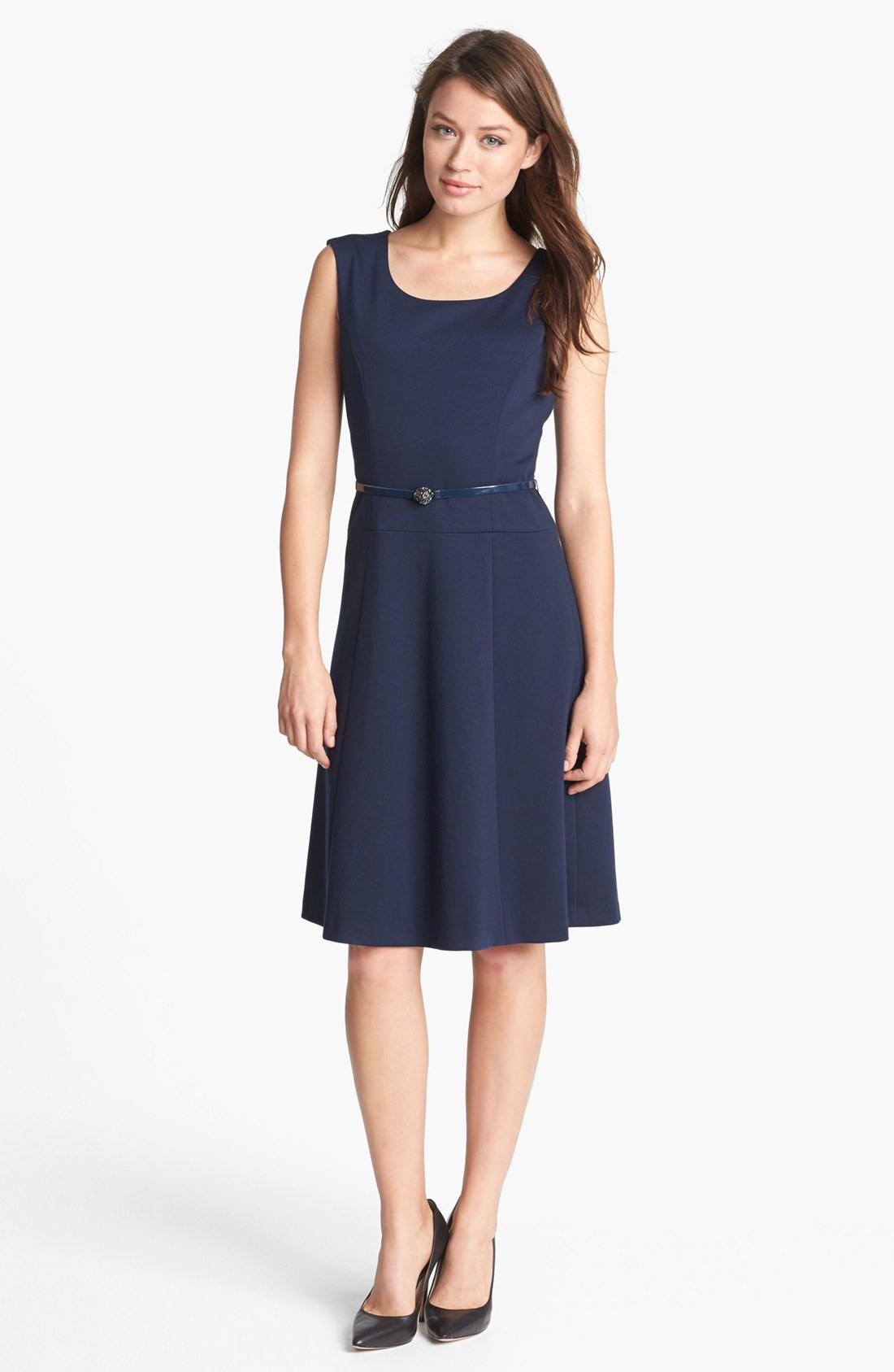 Anne Klein Belted Fit Flare Dress In Blue Midnight Lyst