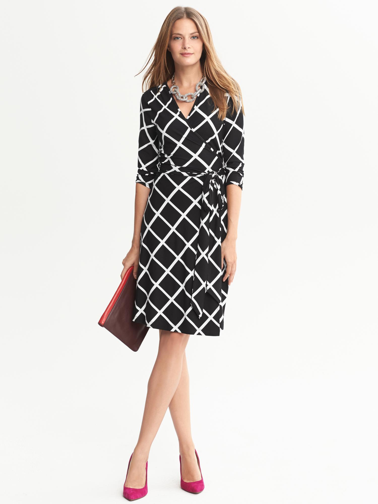 Banana Republic Gemma Windowpane Wrap Dress Black Lyst