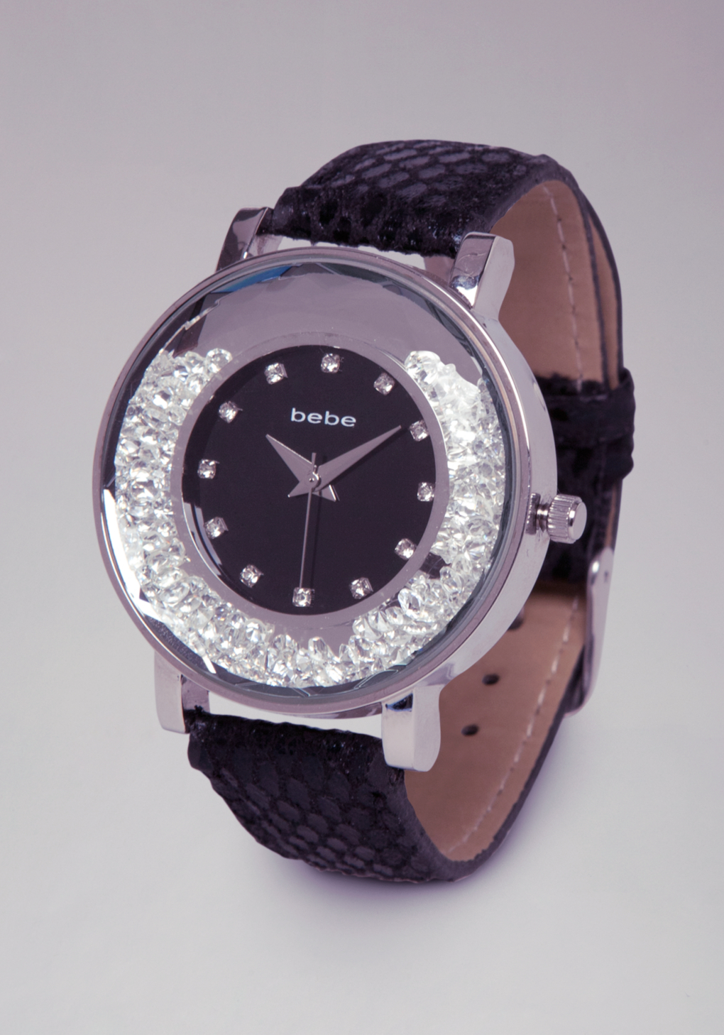 Lyst bebe floating crystal watch in black for Crystal watches