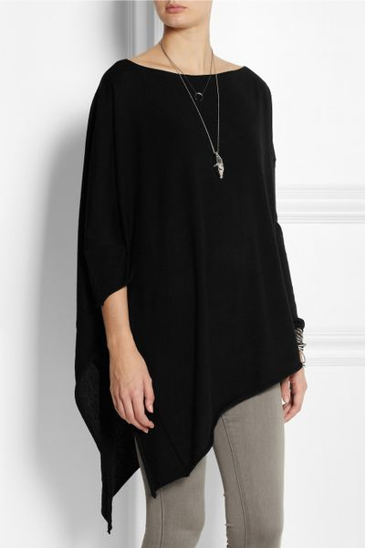 donna karan new york draped cashmere poncho in black lyst. Black Bedroom Furniture Sets. Home Design Ideas
