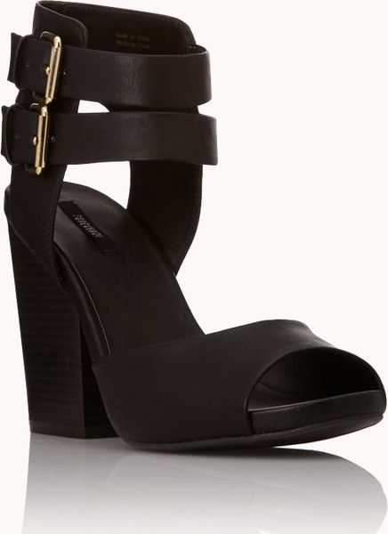 Forever 21 Allday Block Heels In Black Tan Lyst