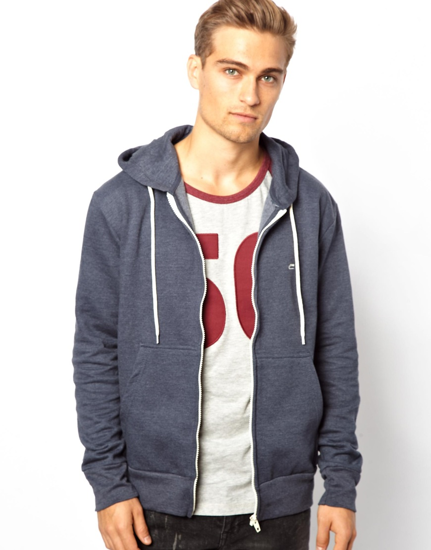 fred perry french connection zip through hoodie in blue. Black Bedroom Furniture Sets. Home Design Ideas