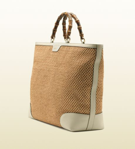 gucci bamboo shopper straw tote in beige bamboo lyst. Black Bedroom Furniture Sets. Home Design Ideas