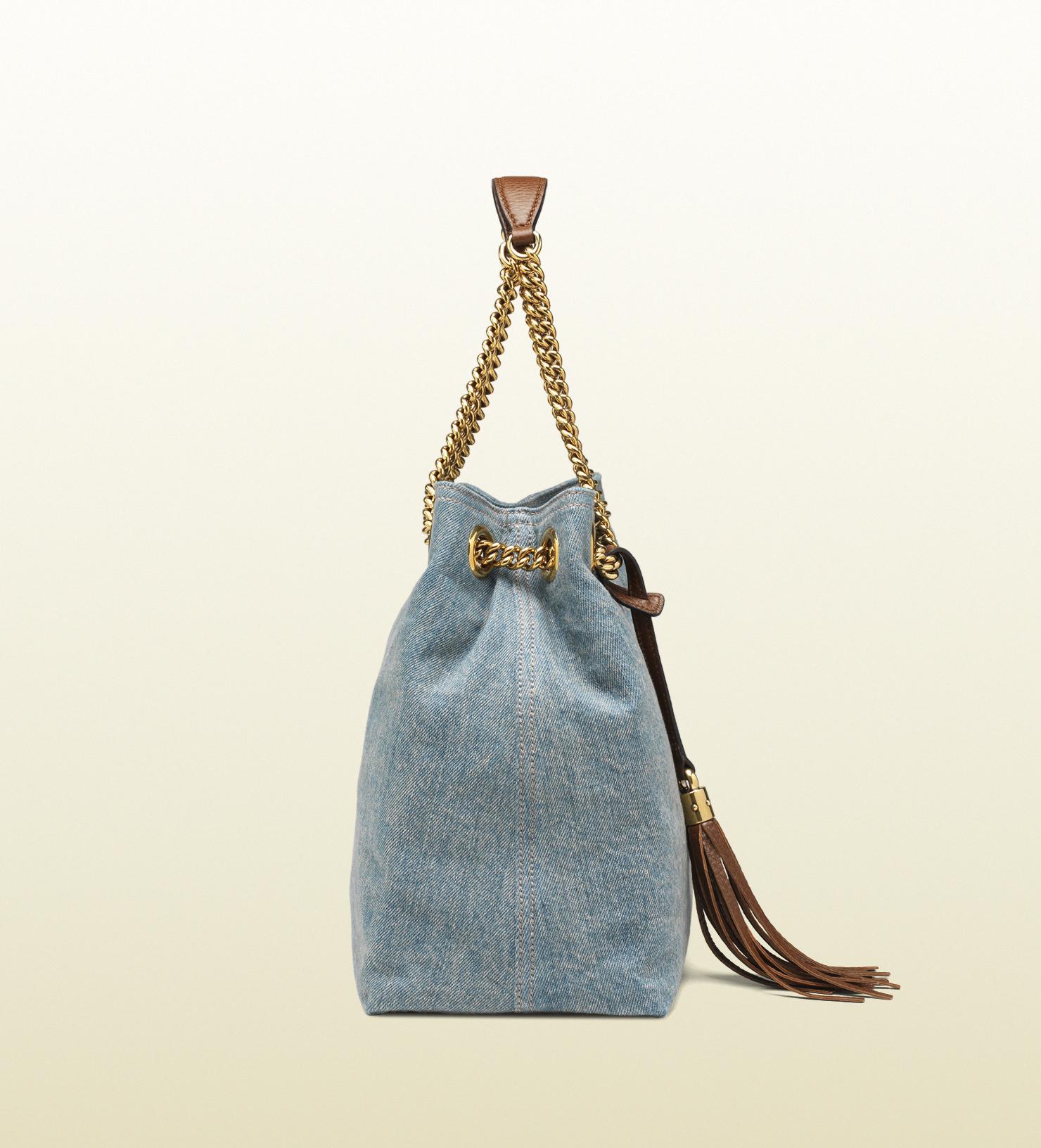 976571abe Gucci Soho Denim Shoulder Bag in Blue - Lyst