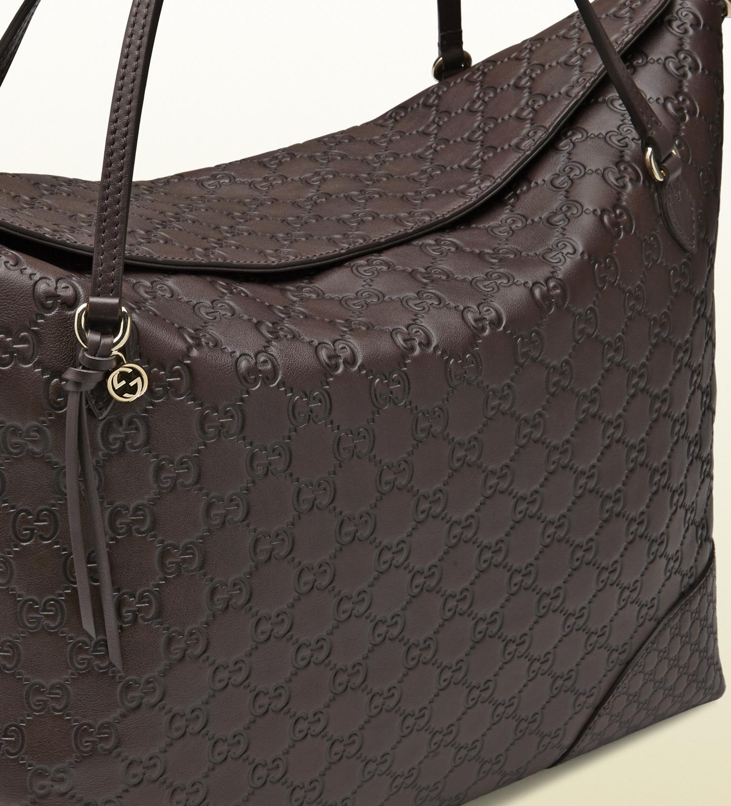 d80e69e0d91 Lyst - Gucci Bree Ssima Leather Tote in Brown
