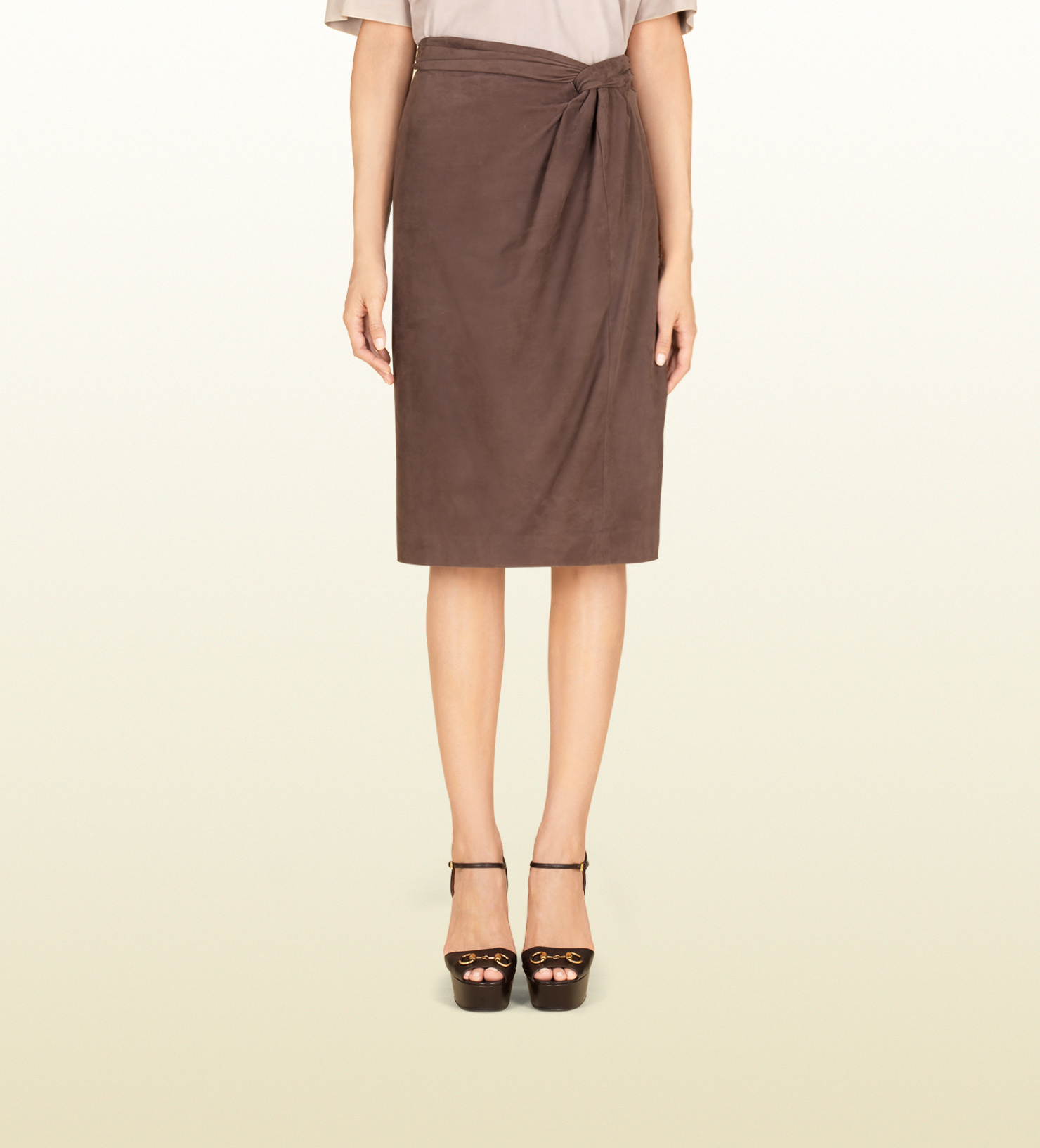 gucci brown leather skirt in brown lyst