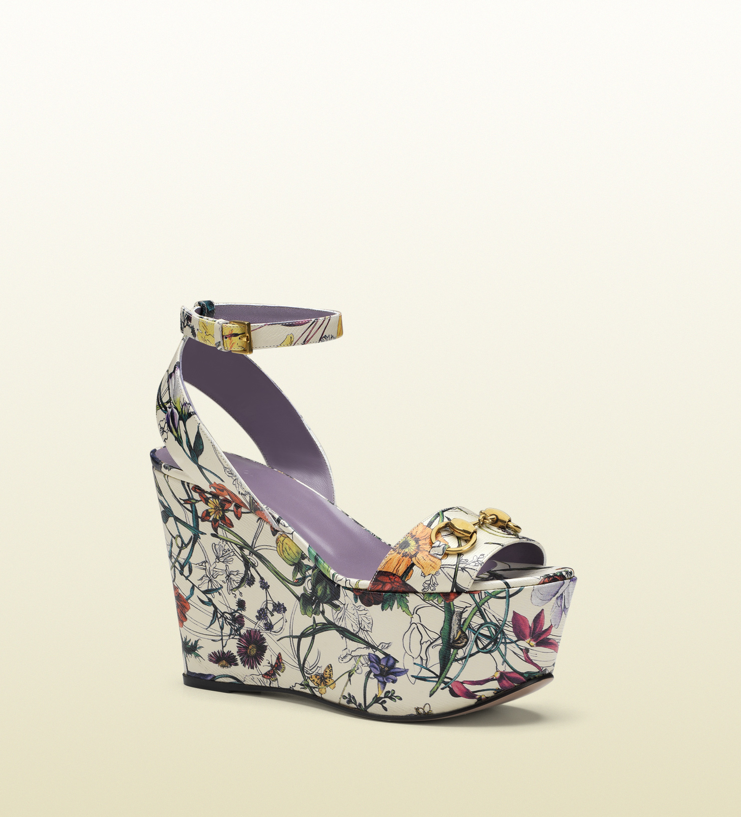 47b700a3360 Lyst - Gucci Flora Leather Midheel Wedge Sandal