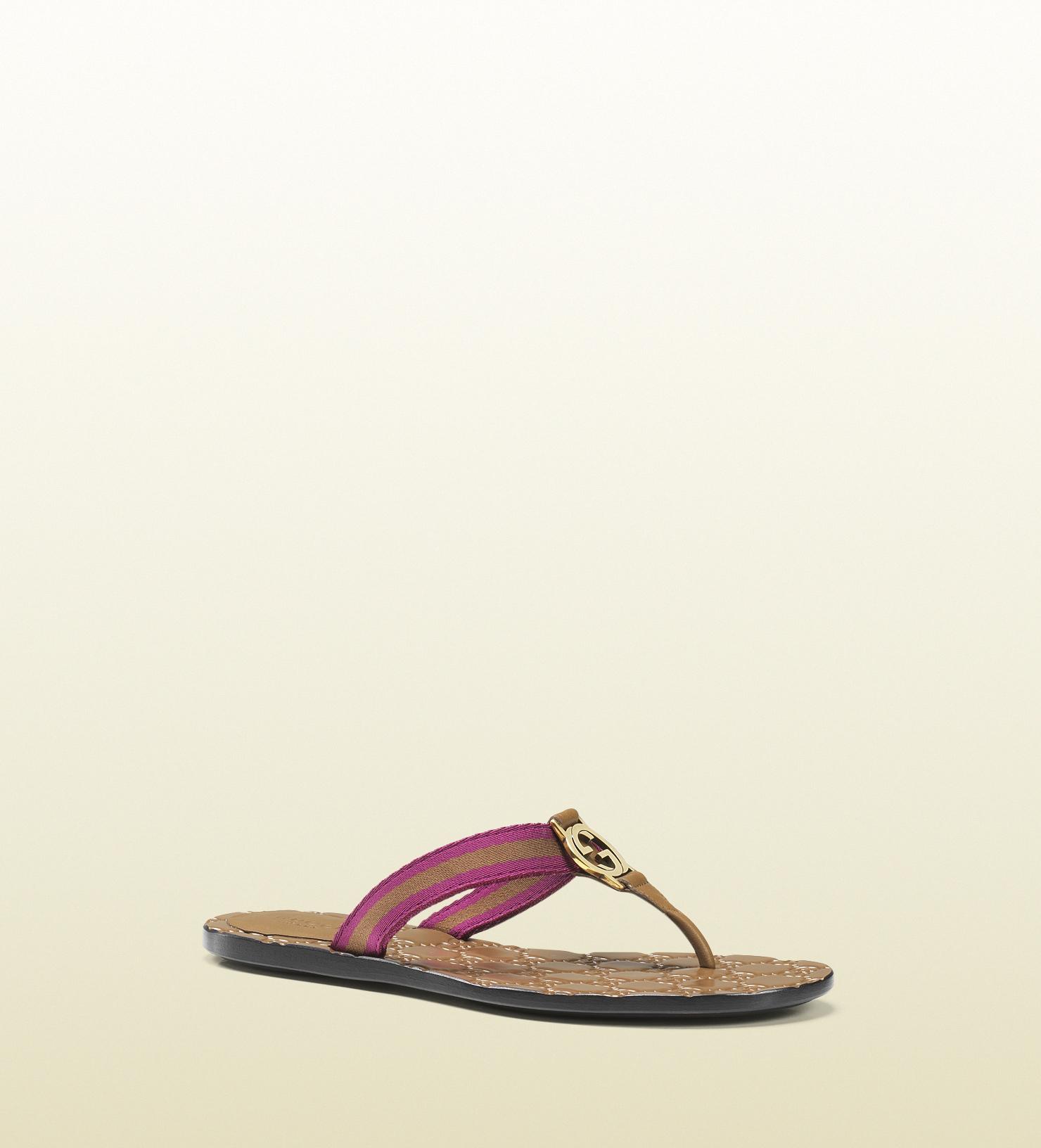 e89932132378 Lyst - Gucci Gg Thong Nylon Web Sandal in Pink for Men
