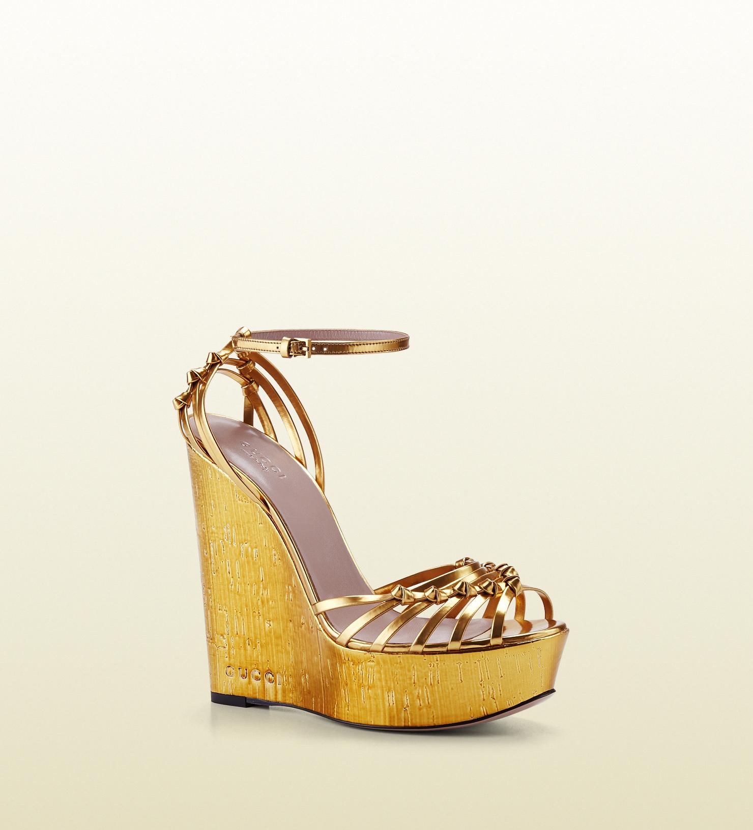 4dc0120a4a2edc Gucci Alice Metallic Leather High-heel Wedge Sandal in Metallic - Lyst