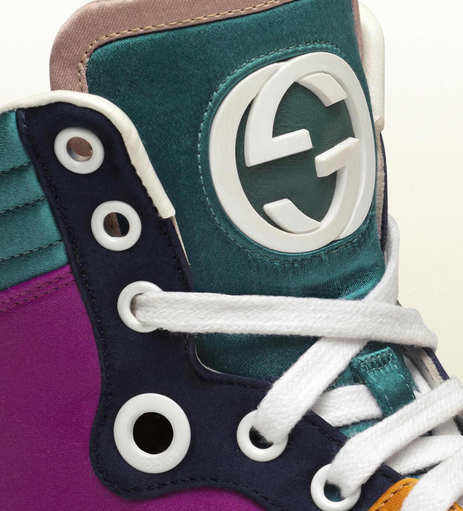 98e6261c2 Gucci Coda Multicolor Satin Hightop Sneaker for Men - Lyst