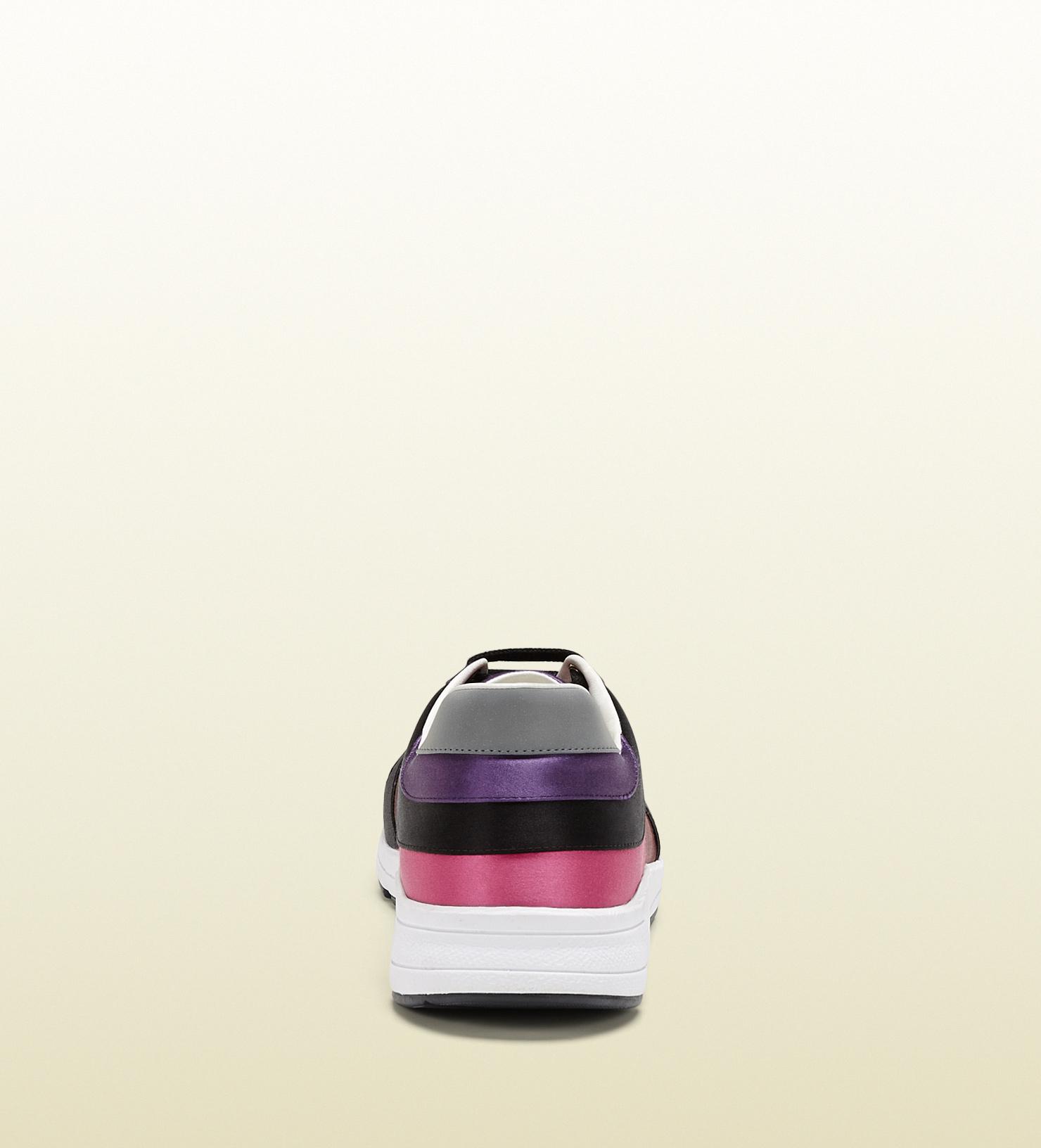 df1a098d4 Gucci Multicolor Satin Lace-up Sneaker in Purple for Men - Lyst