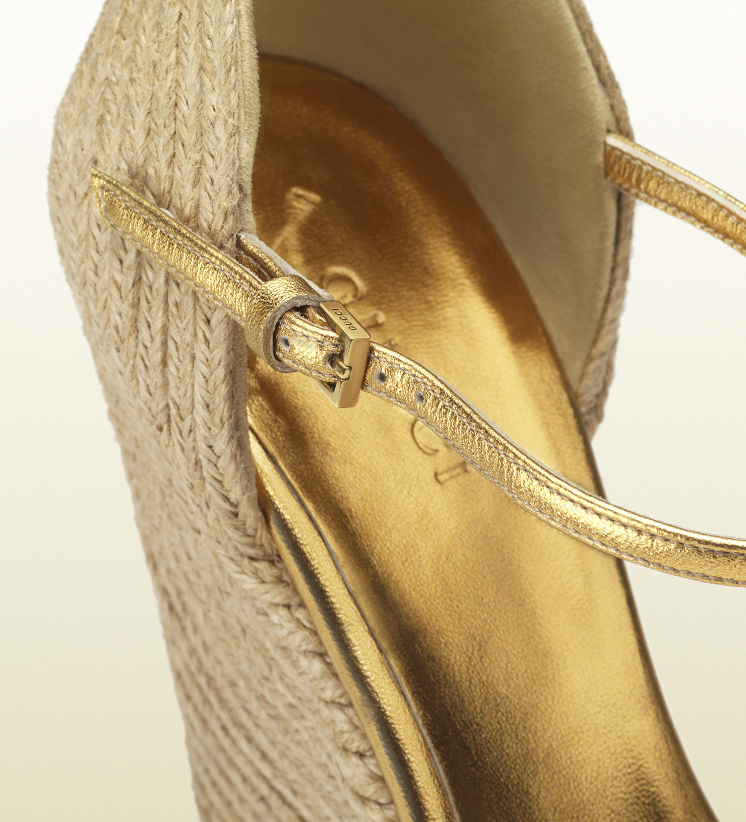 Lyst Gucci Carolina Wedge Sandal With Crystals In Natural