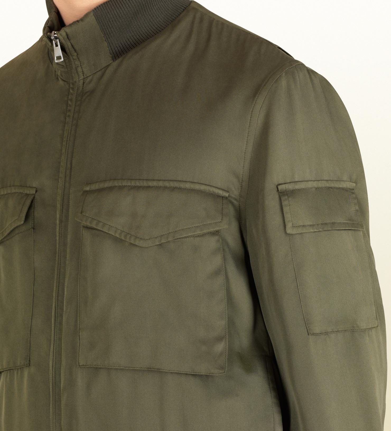 1bd594cb346 Gucci Olive Green Silk Twill Military Coat in Green for Men - Lyst