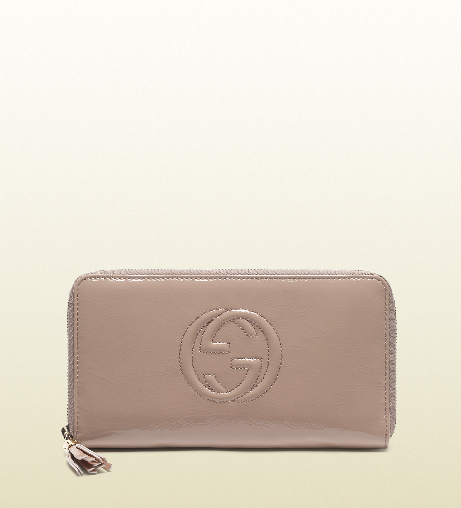 1b07d1de0a1 Lyst - Gucci Soho Patent Leather Zip Around Wallet in Pink
