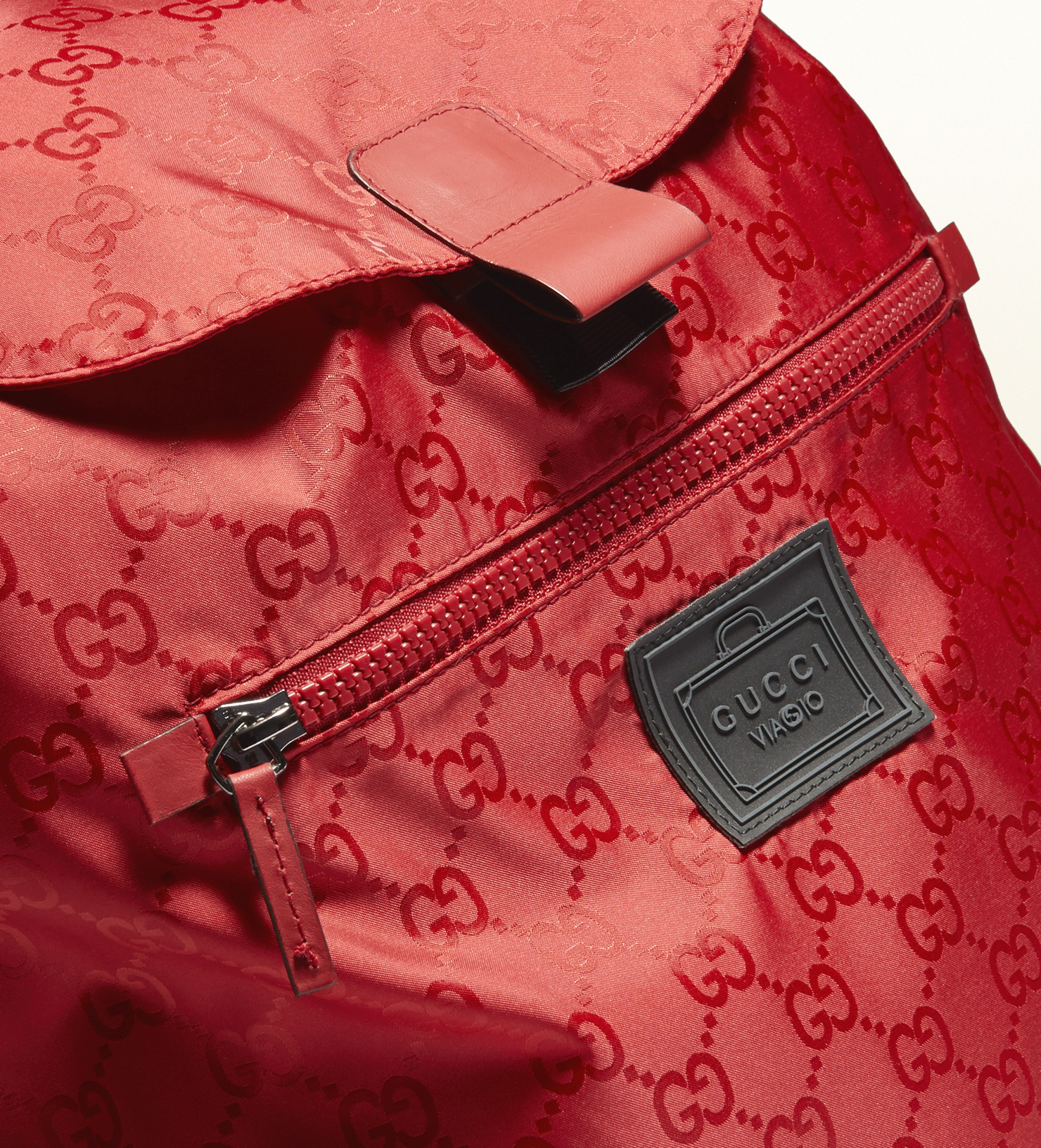 Lyst - Gucci Gg Nylon Backpack From The Viaggio Collection in Red ... 85960b7f45e07