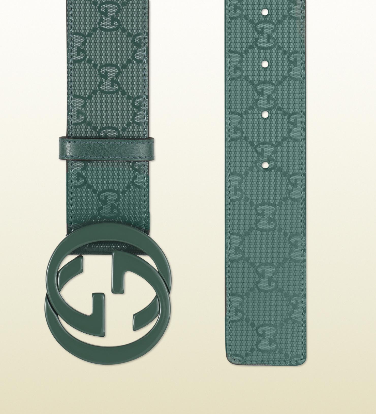lyst gucci gg imprime belt with interlocking g buckle in