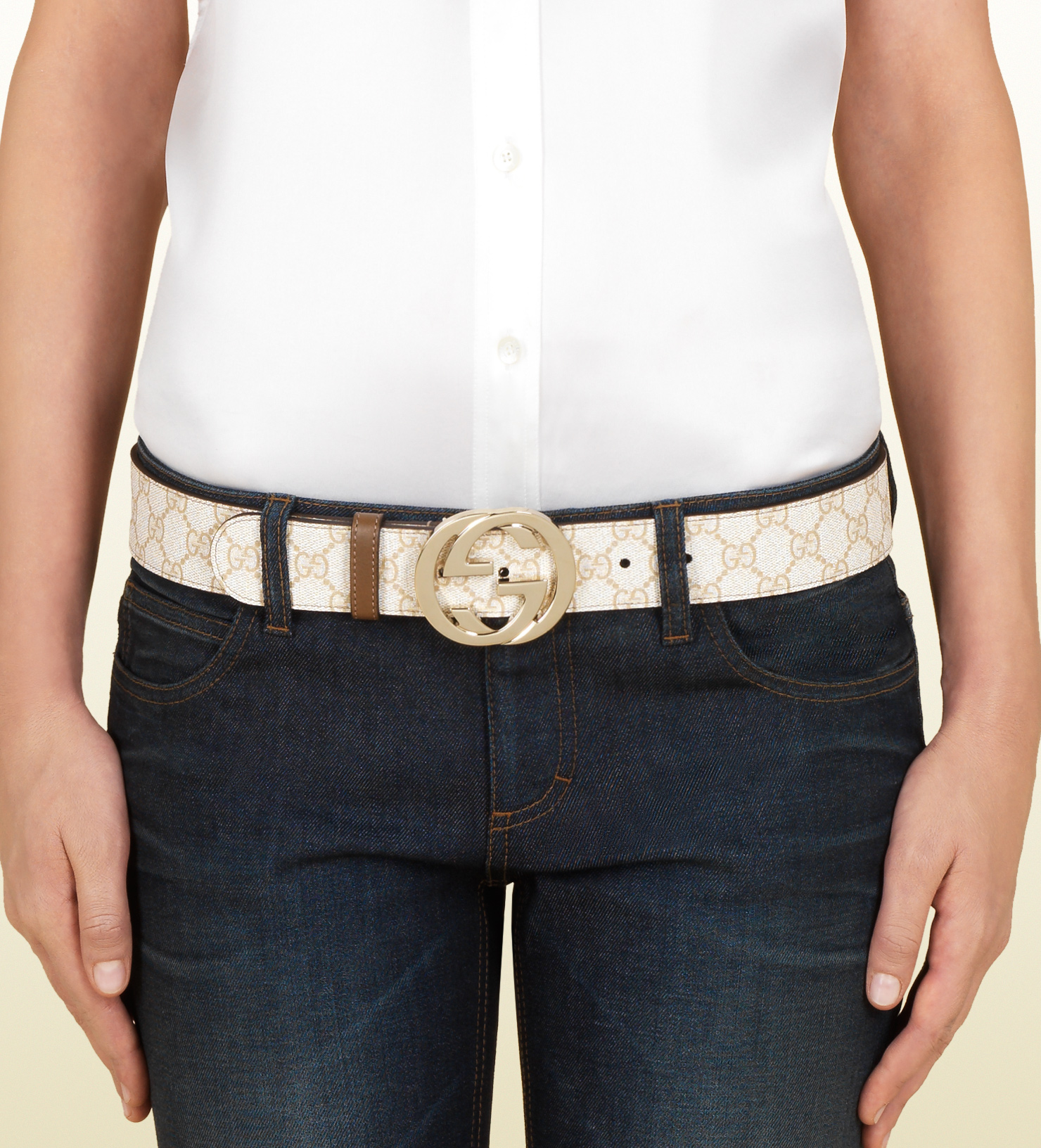 c8a2b381d48 Gucci Gg Supreme Canvas Belt with Interlocking G Buckle in Natural ...