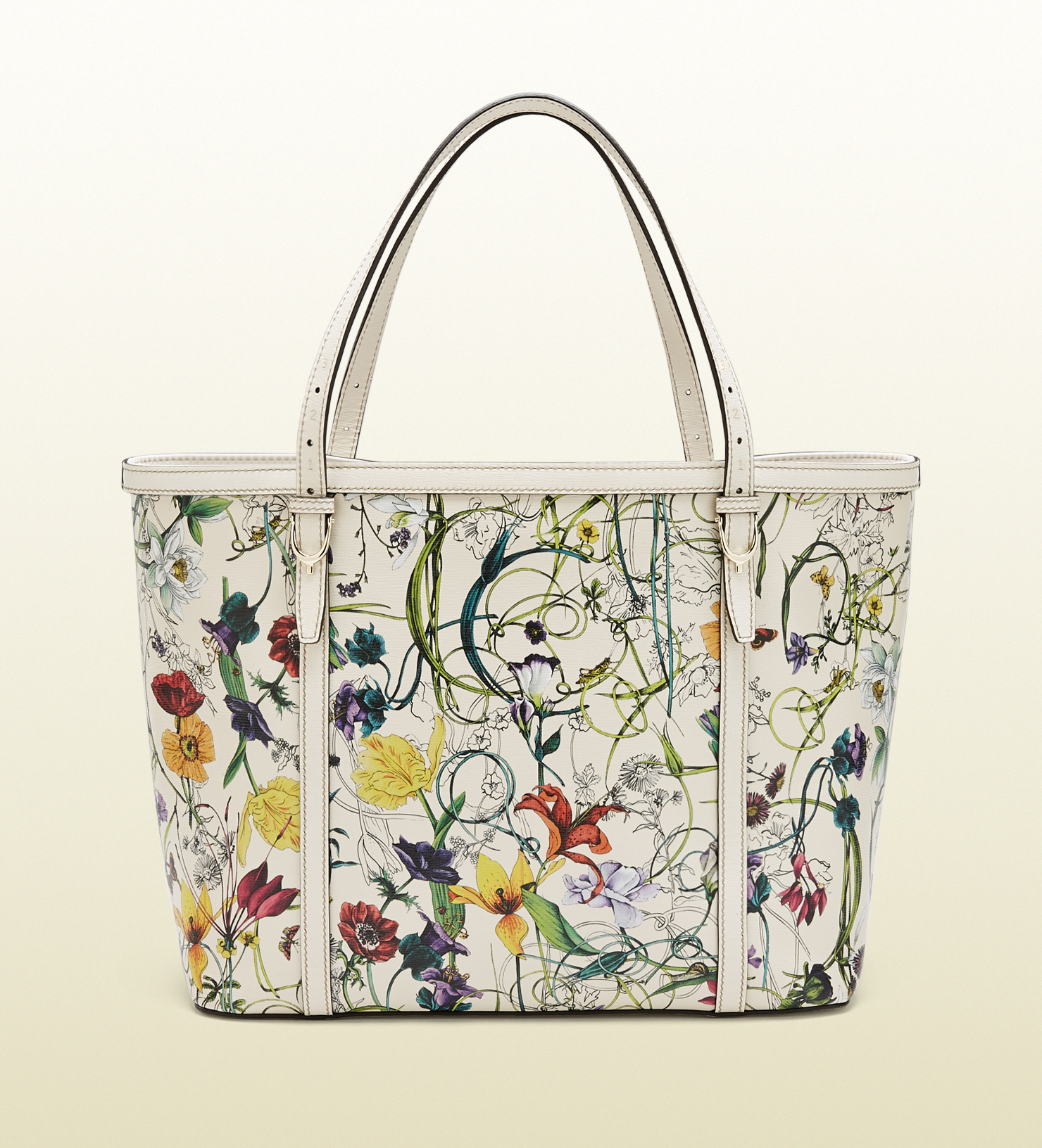 9c4fe23675f0 Lyst Gucci Nice Flora Leather Tote In White · Gucci Flora Tote Bag Canvas  ...
