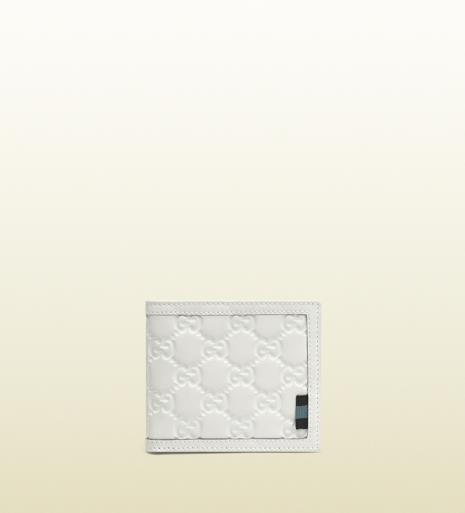 Lyst - Gucci Rubber Ssima Leather Bifold Wallet in White ...