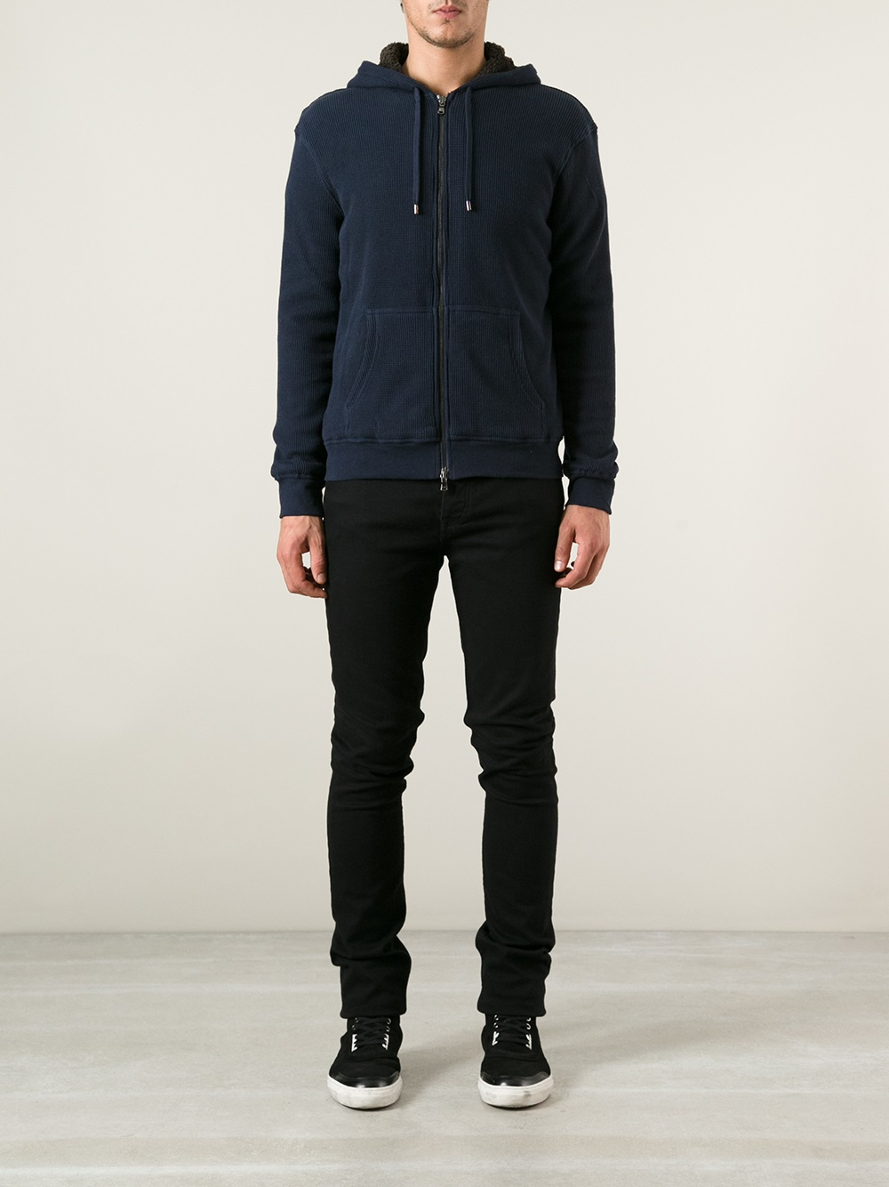 Michael Kors Faux Shearling Lined Hoodie in Blue for Men