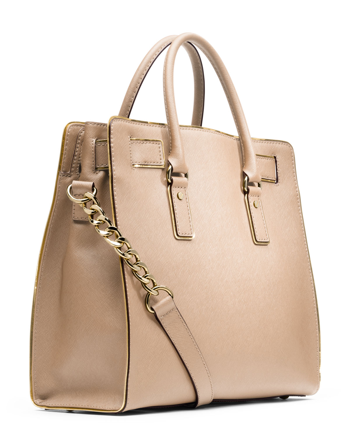 4061f1fefb4659 ... usa lyst michael kors michael large hamilton trimmed tote in natural  7566d b56b8