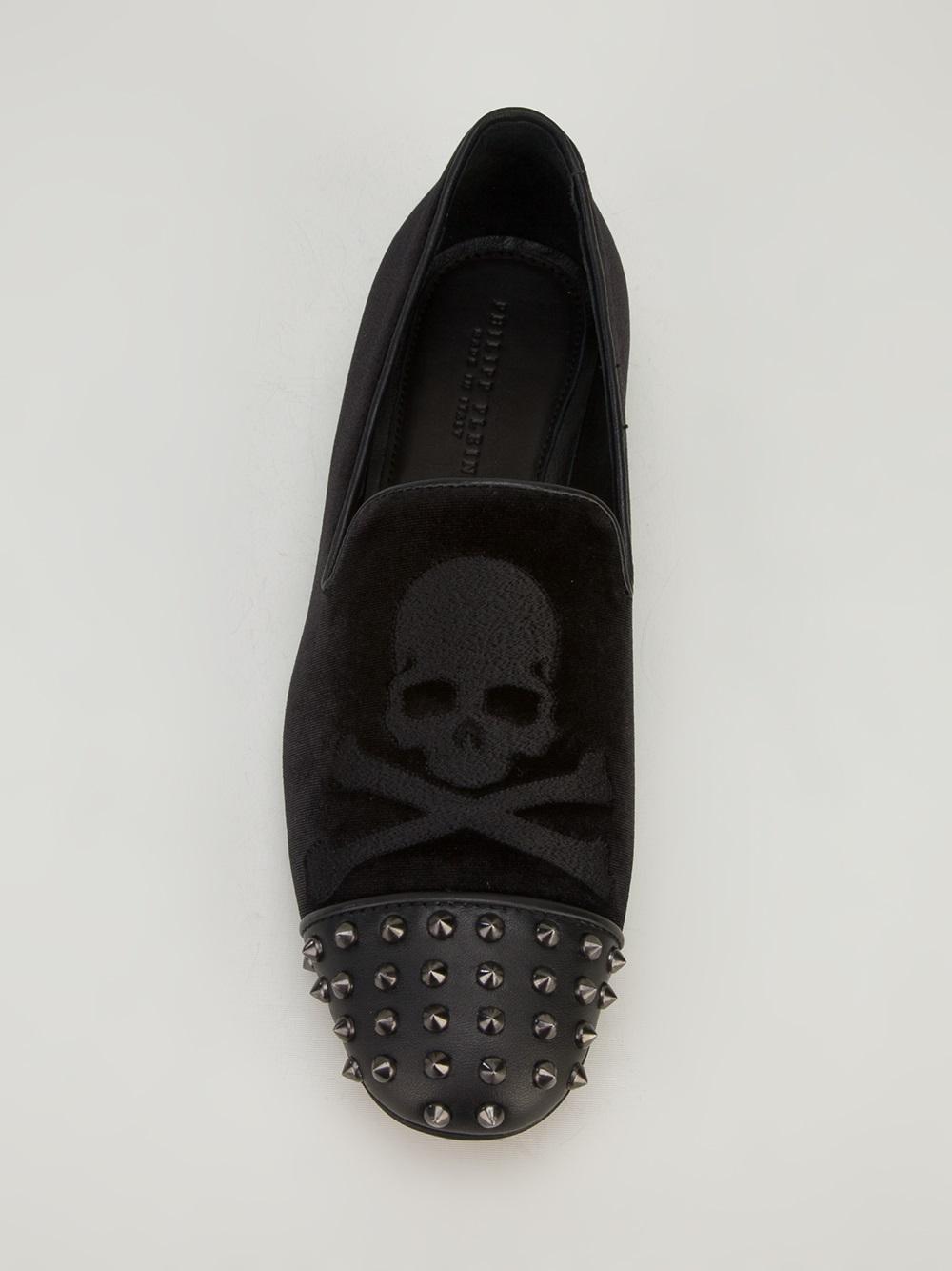 Philipp Plein Spiky Bones Slipper in Black for Men