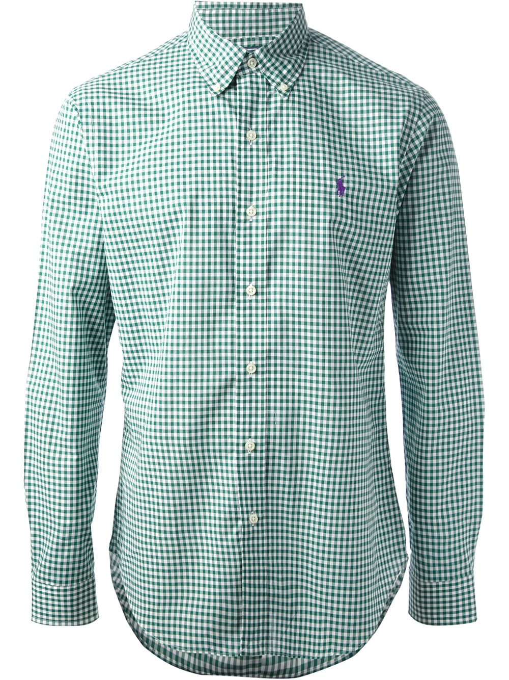 Lyst polo ralph lauren gingham oxford shirt in green for men for Mens green gingham dress shirt