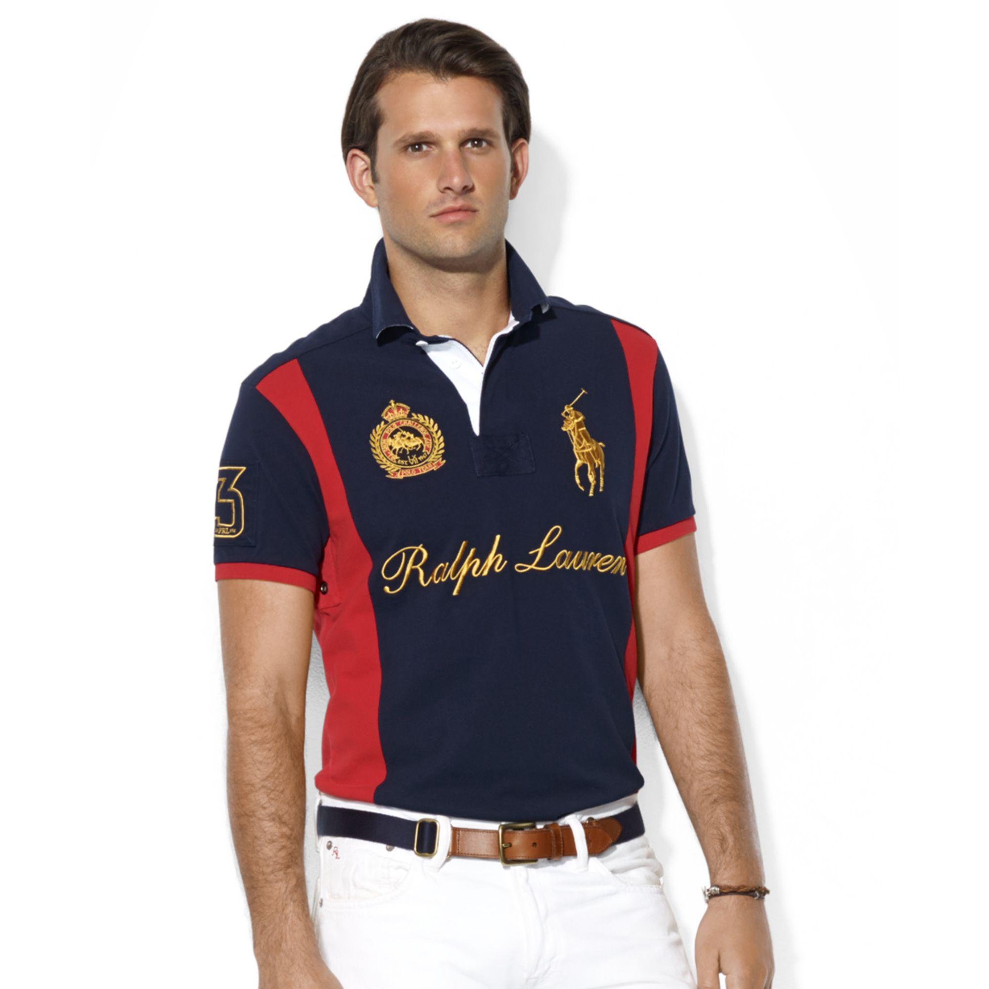 ee66a2f9 ... discount lyst ralph lauren custom fit prl club rugby collar short  sleeve b564b 616ce