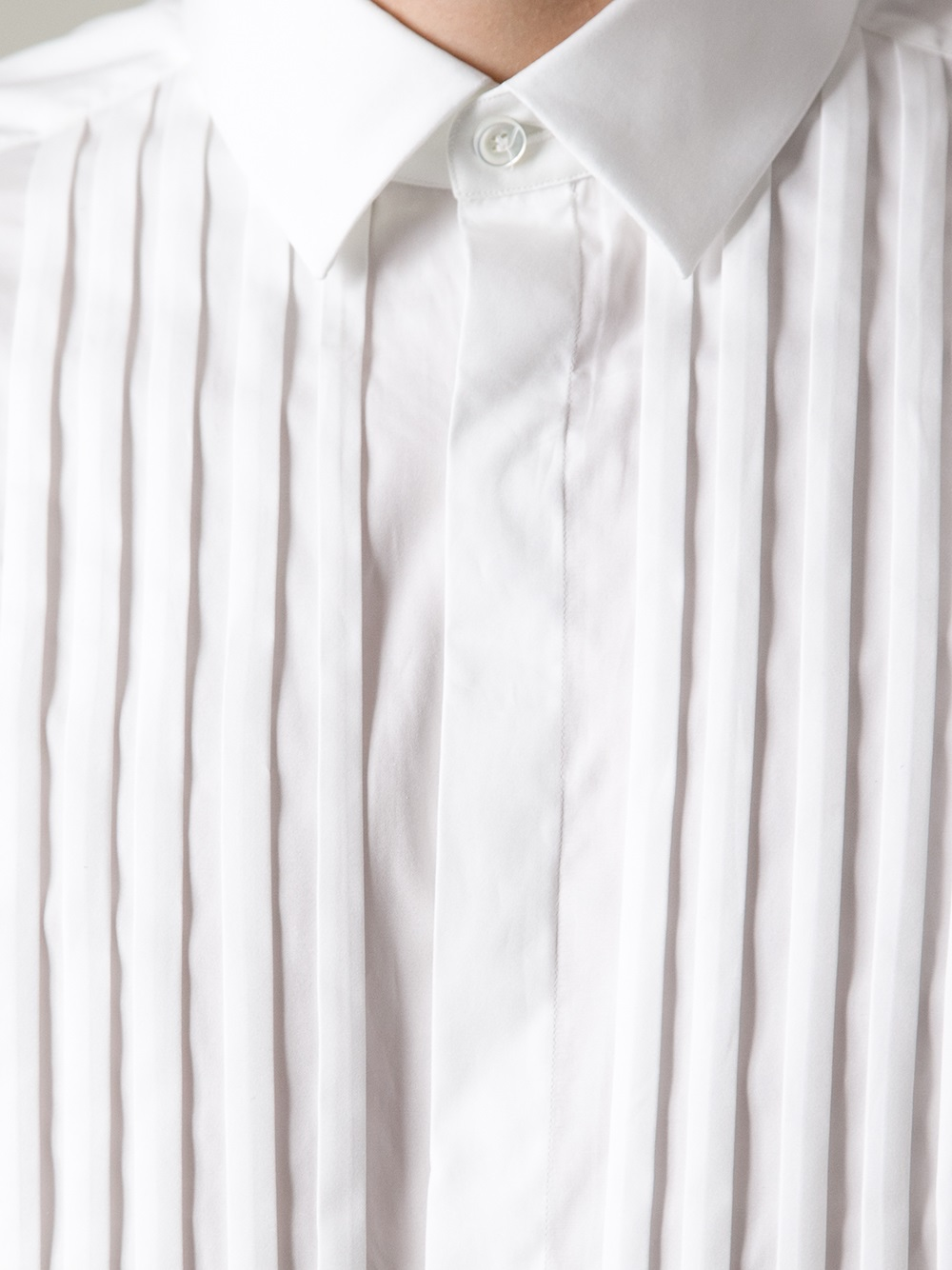 Lyst Valentino Pleated Shirt In White For Men