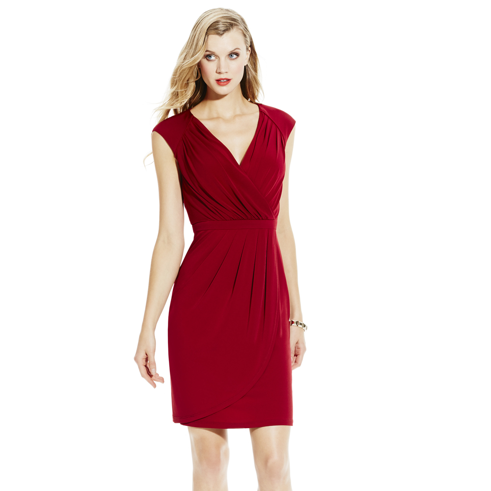 Vince Camuto Vneck Pleated Faux Wrap Dress In Red Lyst