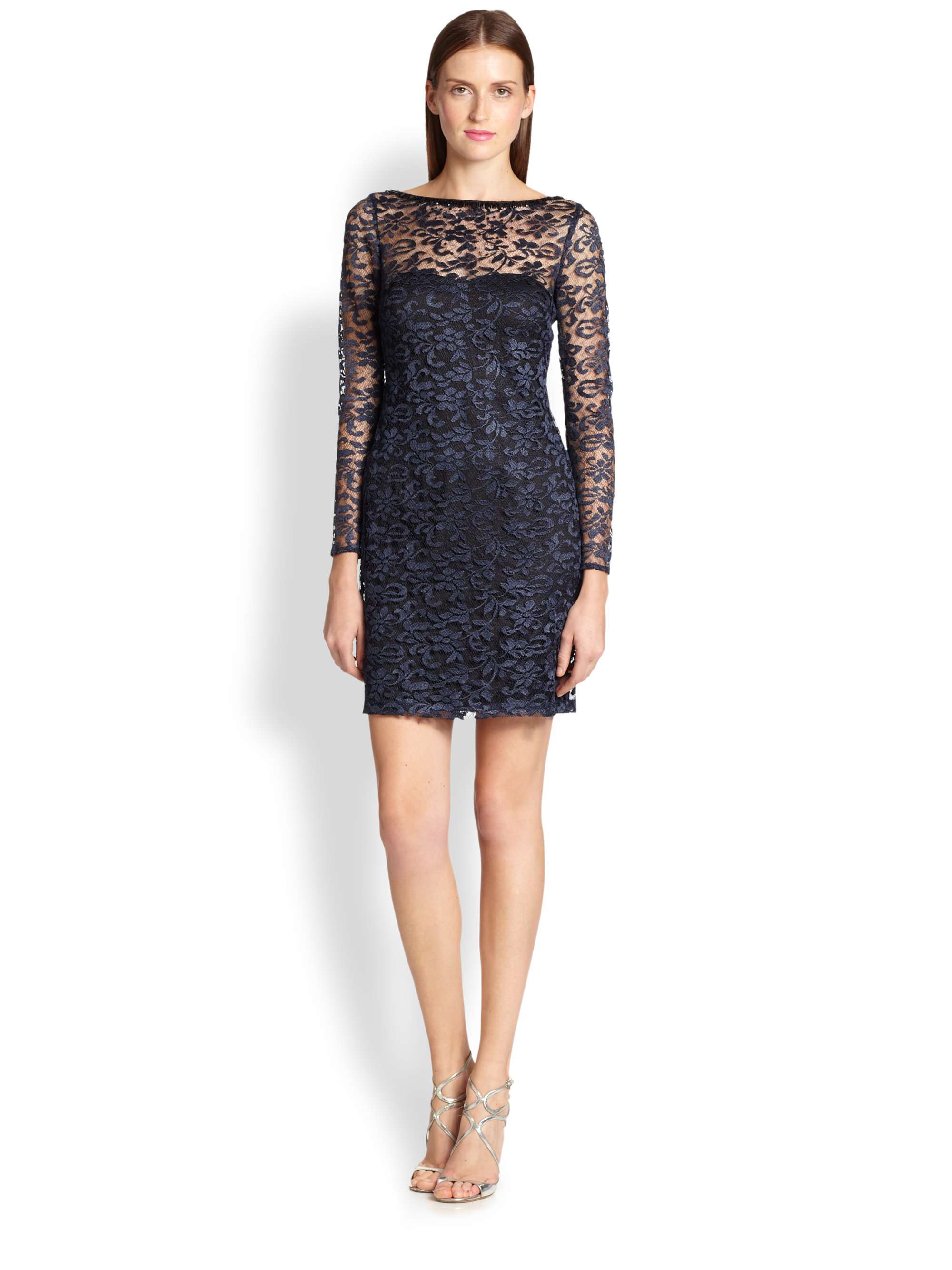 Aidan mattox Lace Cocktail Dress in Blue | Lyst