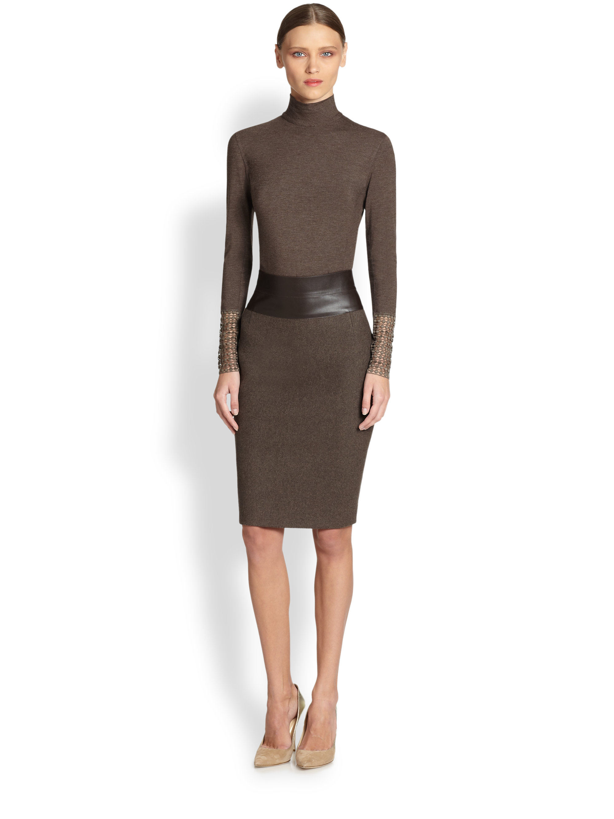 Akris punto Wool Faux Leather Pencil Skirt in Brown | Lyst