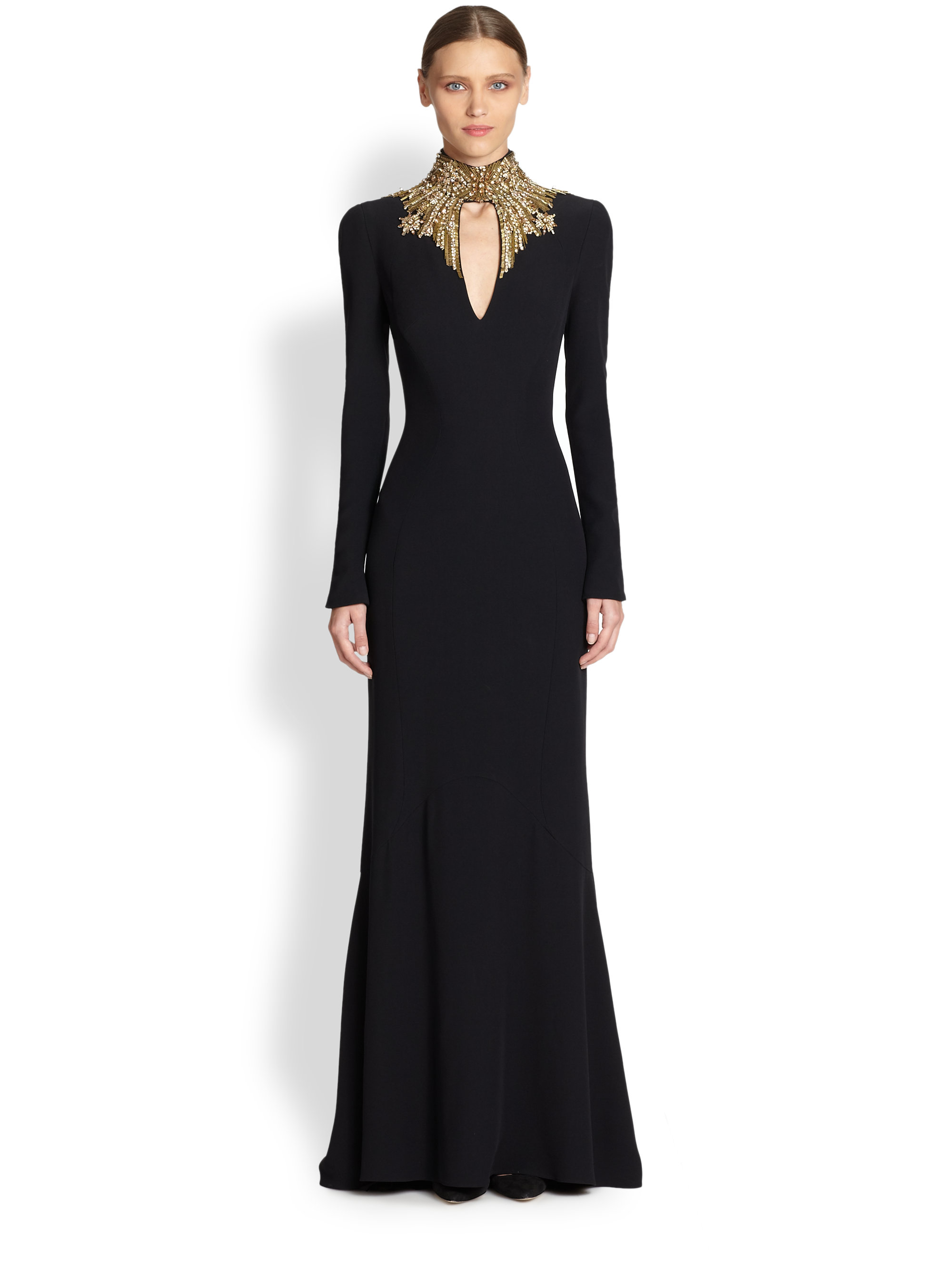 Alexander mcqueen Crepe Jewelneck Gown in Black