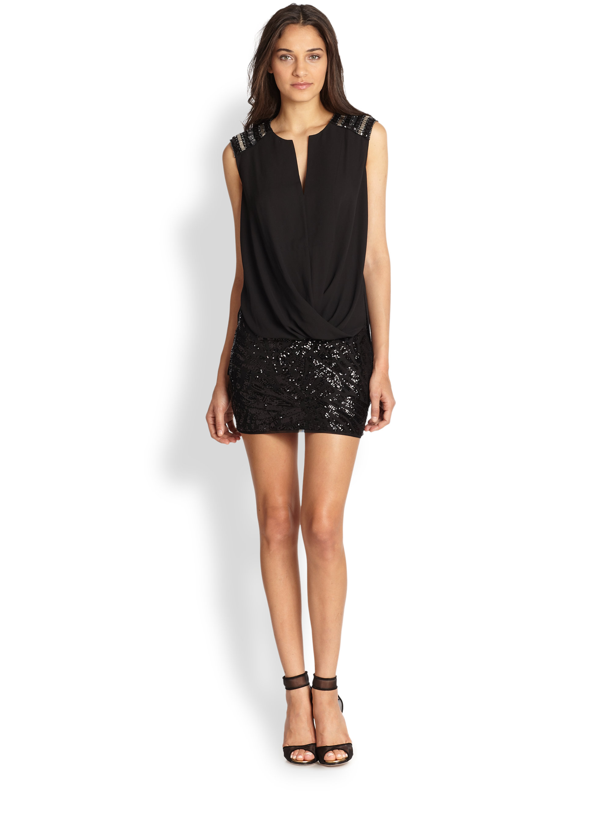 Bcbgmaxazria Sequin Mini Skirt in Black | Lyst