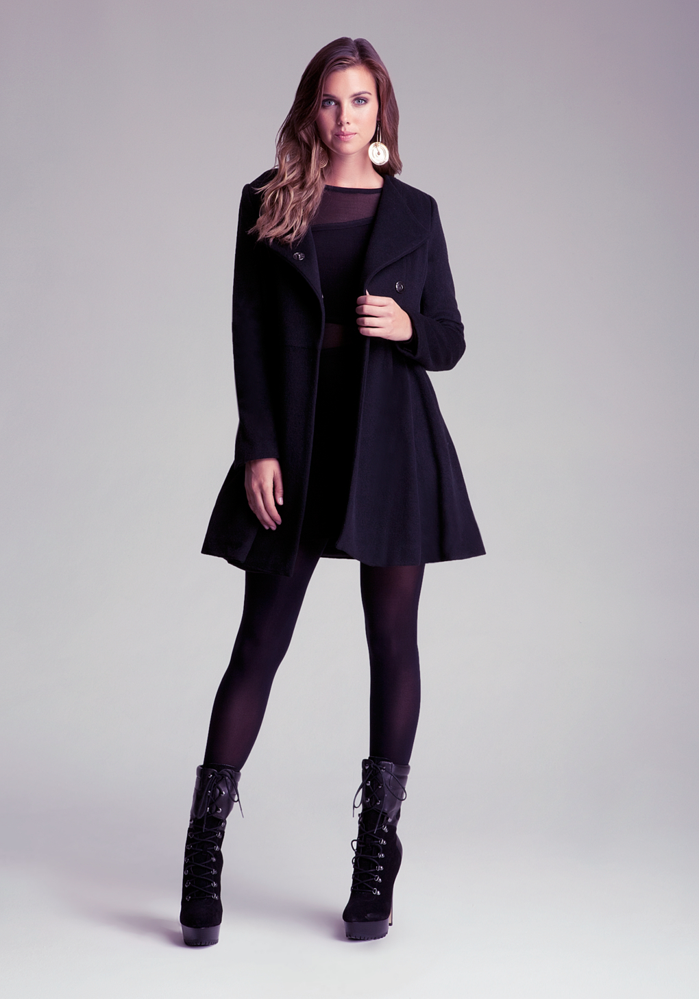Bebe Fit Flare Wool Coat In Black Lyst