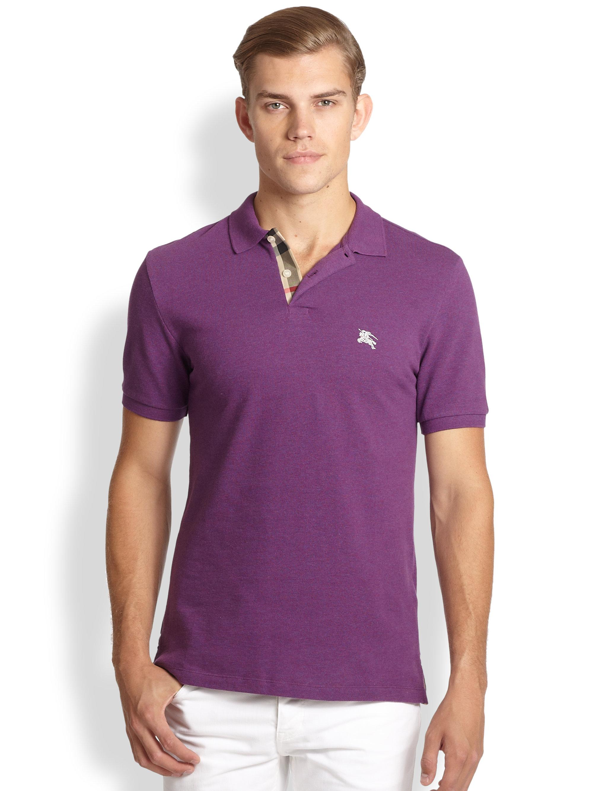 556c0b57e Burberry Brit Classic Pique Polo in Purple for Men - Lyst