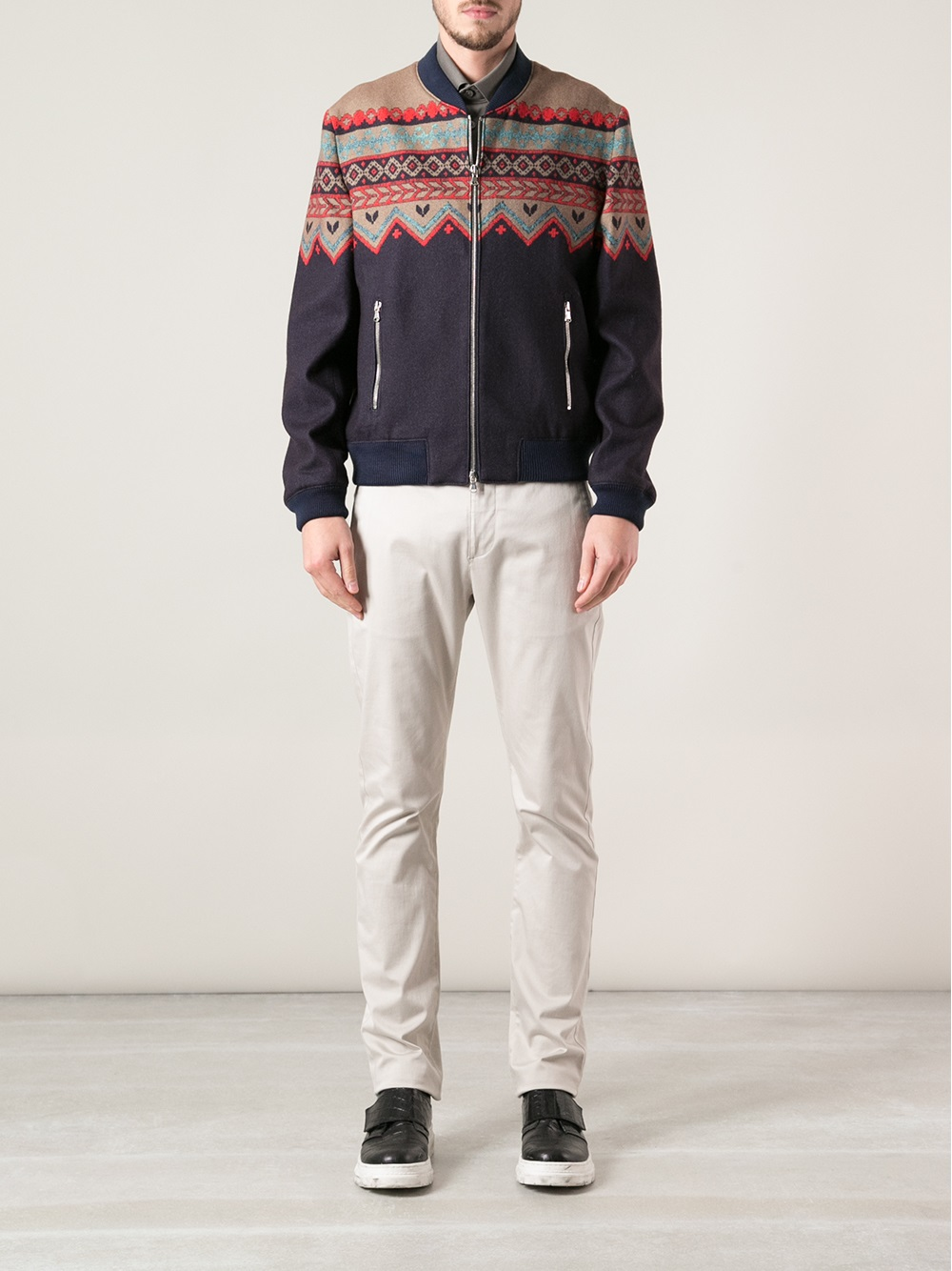 Carven Patterned Bomber Jacket in Pink & Purple (Blue) for Men